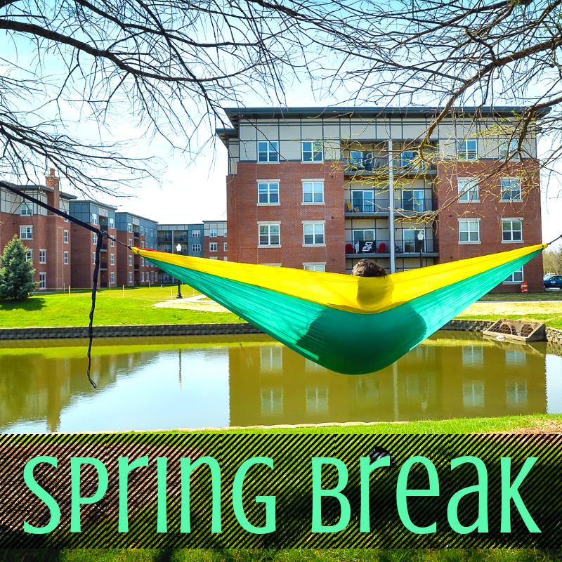 Student Relaxing in a Hammock for Spring Break